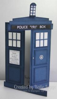 Stampin' Up! Dr Who Tardis Gatefold Card ~ Open | Created by Katie Legge rachelleggestampinup.wordpress.com #DrWho #Tardis #StampinUp
