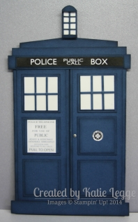 Stampin' Up! Dr Who Tardis Card | Created by Katie Legge rachelleggestampinup.wordpress.com #DrWho #Tardis