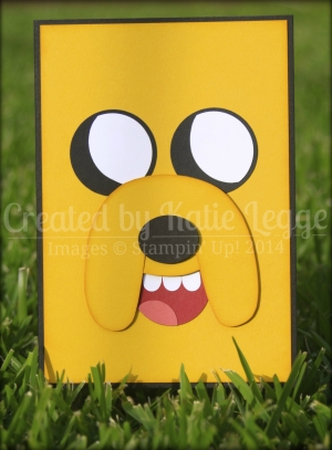 Jake Adventure Time Card by Katie Legge. From https://rachelleggestampinup.wordpress.com/2014/05/15/adventure-time-jake-the-dog-card/