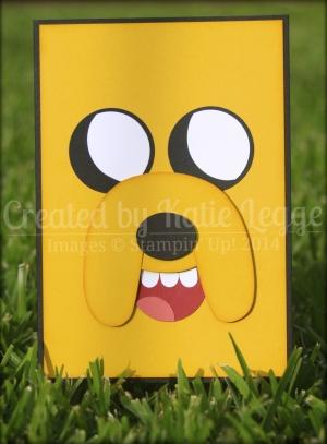 Jake Adventure Time Card by Katie Legge. From https://rachelleggestampinup.wordpress.com/2014/05/15/adventure-time-jake-the-dog-card/