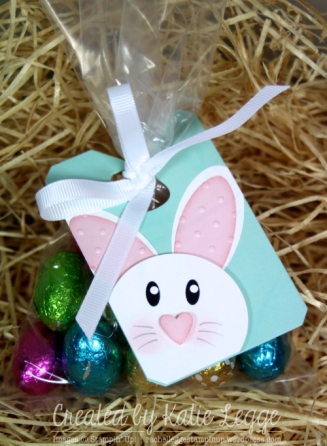 Stampin' Up! Easter Bunny Punch Art Tag Decorating Cello Treat Bag with Easter Eggs | Created by Katie Legge rachelleggestampinup.wordpress.com #Easter #Bunny #StampinUp #PunchArt