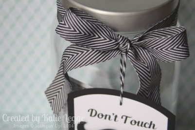 Katie Legge Stampin Up Mustache Framelit Don't Touch My Stache Jar Chevron Ribbon Closeup www.rachelleggestampinup.wordpress.com