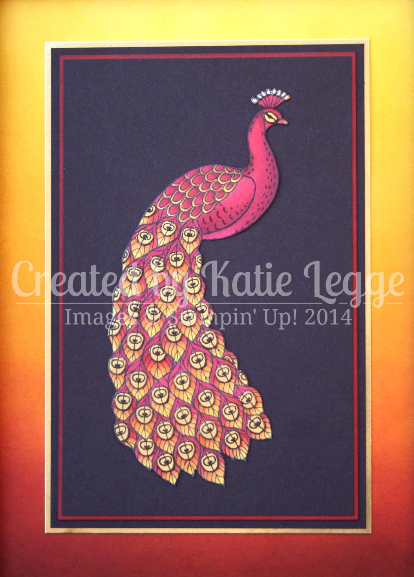 katie legge stampin up perfect peacock phoenix frame coloured with blendabilities close up wwwrachelleggestampinup - Home Decor Phoenix