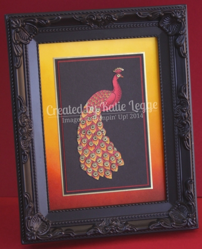 Katie Legge Stampin Up Perfect Peacock Phoenix Frame Coloured with Blendabilties www.rachelleggestampinup.wordpress.com
