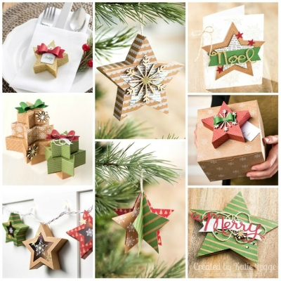 Stampin Up Merry and Bright Holiday Suppliement Many Merry Stars Kit Alternative Ideas - Collage by Katie Legge