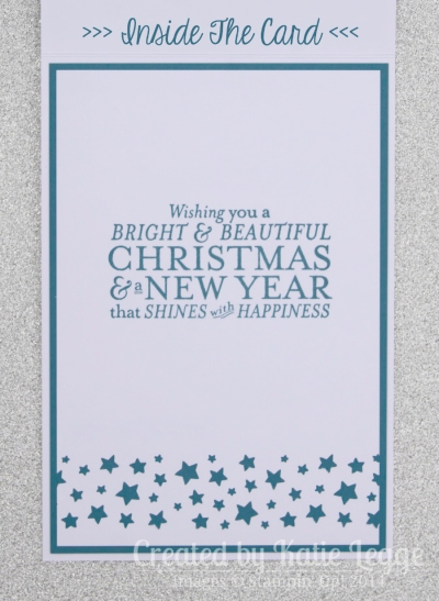 Stampin' Up! Bright and Beautiful Emboss Resist Star Christmas Card Inside | Created by Katie Legge rachelleggestampinup.wordpress.com
