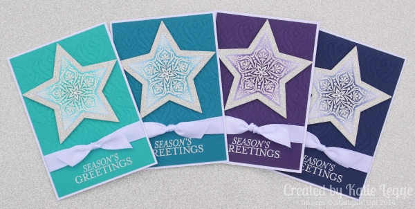 Stampin' Up! Bright and Beautiful Non-Traditional Christmas Card Colours Emboss Resist Star Cards | Created by Katie Legge rachelleggestampinup.wordpress.com