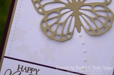 Stampin' Up! Butterfly Thinlits Birthday Card Closeup Showing Flower Pattern Irresistibly Yours Specialty DSP | Created by Rachel and Katie Legge rachelleggestampinup.wordpress.com