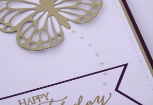 Stampin' Up! Butterfly Thinlits Birthday Card Details - Brushed Gold Butterfly, Tiny Basics Pearls Flight Trail, Gold Embossed Happy Birthday, Machine Stitching | Created by Rachel and Katie Legge rachelleggestampinup.wordpress.com