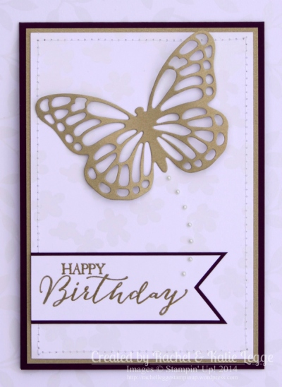 Stampin' Up! Butterfly Thinlits Card | Created by Rachel and Katie Legge rachelleggestampinup.wordpress.com #Occasions2015 #SaleABration2015 #StampinUp