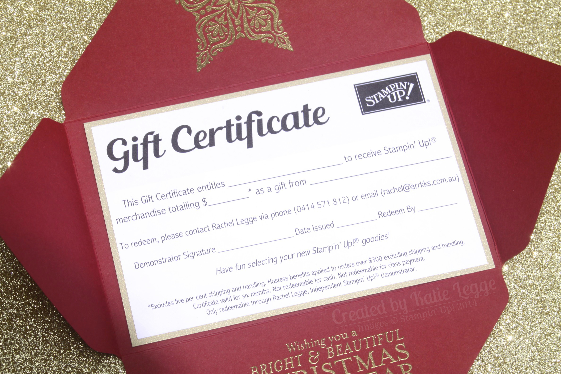 stampin up christmas gift certificate envelope open closeup