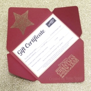 Stampin Up Christmas Gift Certificate - Envelope open - Katie and Rachel Legge