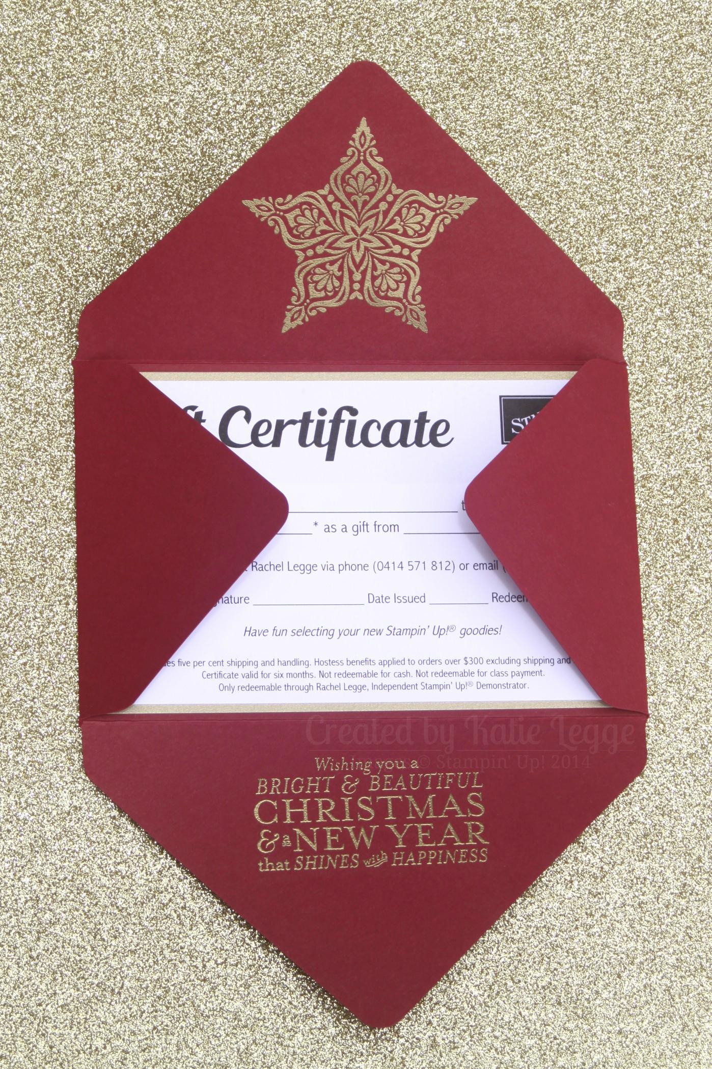 stampin up christmas gift certificate half opened envelope katie