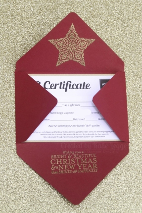 Stampin Up Christmas Gift Certificate - Half-opened envelope - Katie and Rachel Legge