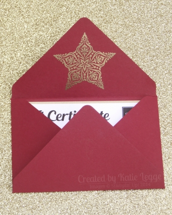 Stampin Up Christmas Gift Certificate - Opening the envelope - Katie and Rachel Legge