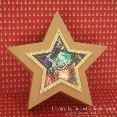 Stampin' Up! Many Merry Stars Kit Star Box With Brad Hinge Opening - Box Closed | Gold Glimmer, Many Merry Stars Stamp Set | Created by Rachel Legge rachelleggestampinup.wordpress.com