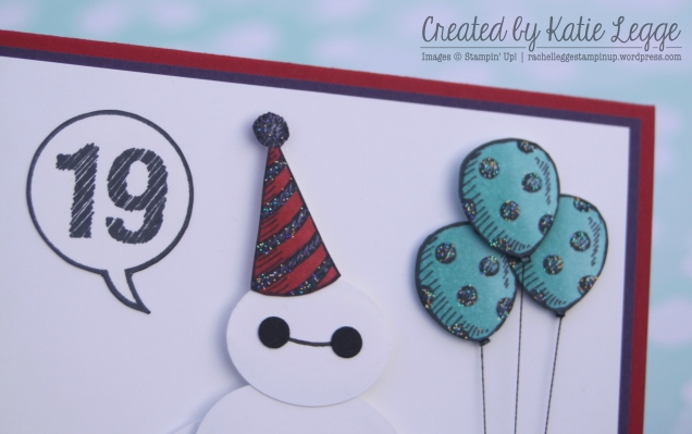 Stampin' Up! Big Hero 6 Baymax Birthday Card - Closeup of balloons and party hat from Sketched Birthday | Created by Katie Legge rachelleggestampinup.wordpress.com