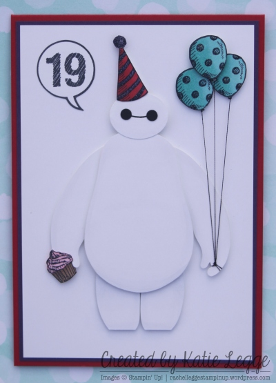 Stampin' Up! Big Hero 6 Baymax Birthday Card | Created by Katie Legge rachelleggestampinup.wordpress.com