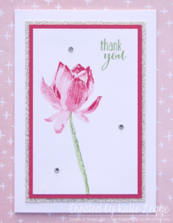 Stampin' Up! Simple and Easy Strawberry Slush Lotus Blossom Thank You Notecard Created by Katie Legge rachelleggestampinup.wordpress.com