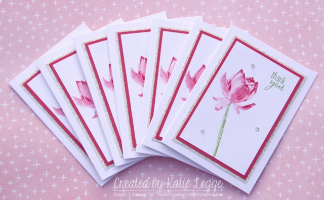 Stampin' Up! Simple and Easy Strawberry Slush Lotus Blossom Thank You Notecards Set  Created by Katie Legge  rachelleggestampinup.wordpress.com