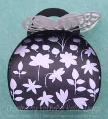 Stampin' Up! Butterfly Curvy Keepsake Convention 2015 Swap - Side of box with Back to Black floral DSP - Created by Rachel and Katie Legge rachelleggestampinup.wordpress.com