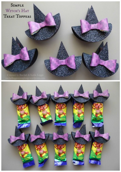 Simple and Easy Witch's Hat Halloween Treat Toppers | Inspired by Janet Baker | Created by Rachel and Katie Legge rachelleggestampinup.wordpress.com