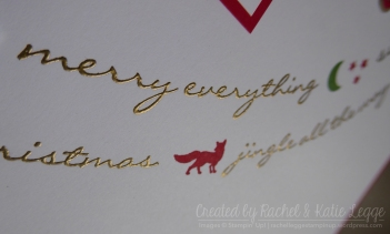 Stampin' Up! Jiingle All the Way Christmas Scrapbook Layout | Gold embossed words closeup | Created by Rachel and Katie Legge