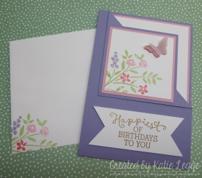 Corner fold birthday card and envelope using Number of Years and Birthday Blooms | 2016 Occasions Sneak Peek | Created by Katie Legge