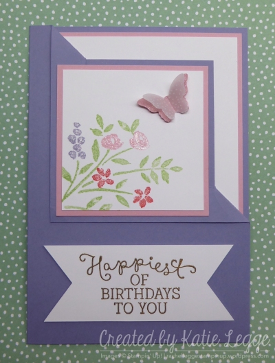Corner fold Birthday card using Number of Years and Birthday Blooms | 2016 Occasions Sneak Peek | Created by Katie Legge