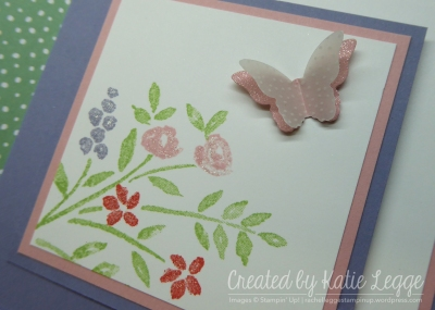 Corner fold birthday card using Number of Years and Birthday Blooms - butterfly and Wink of Stella closeup | 2016 Occasions | Created by Katie Legge