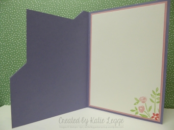 Corner fold birthday card using Number of Years and Birthday Blooms - card inside | 2016 Occasions | Created by Katie Legge