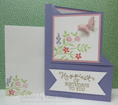 Corner fold birthday card using Number of Years and Birthday Blooms - card with matching stamped envelope | 2016 Occasions | Created by Katie Legge