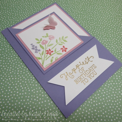 Corner fold birthday card using Number of Years and Birthday Blooms - square photo | 2016 Occasions | Created by Katie Legge
