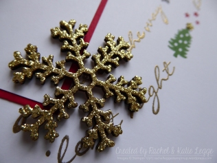 Stampin' Up! Jingle All the Way Christmas Layout - Gold Glitter Embossed Snowflake Detail | Created by Rachel and Katie Legge