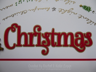 Stampin' Up! Jingle All the Way Christmas Scrapbook Layout | Page Title Detail Closeup | Created by Rachel and Katie Legge