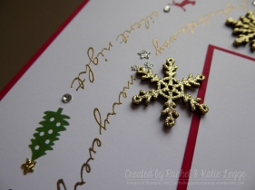 Stampin' Up! Jingle All the Way Christmas Scrapbook Layout | Snowflake and Stamping Closeup Detail | Created by Rachel and Katie Legge rachelleggestampinup.wordpress.com