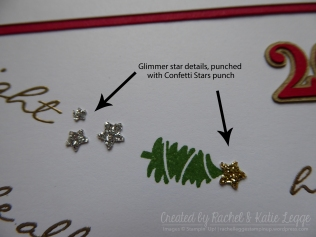Stampin' Up! Jingle All the Way Christmas Scrapbook Layout | Stars details closeup | Created by Rachel and Katie Legge rachelleggestampinup.wordpress.com