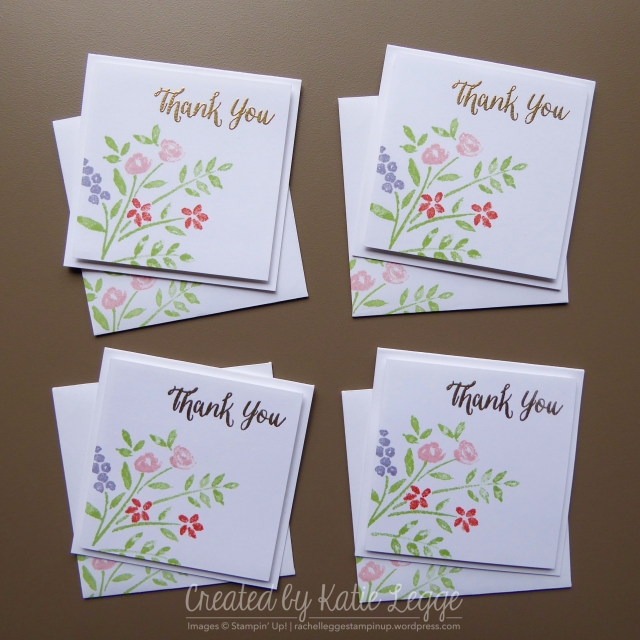 Stampin' Up! Quick and Simple Floral Thank You Notecards | Using the NEW Number of Years Stamp Set | Created by Katie Legge rachelleggestampinup.wordpress.com