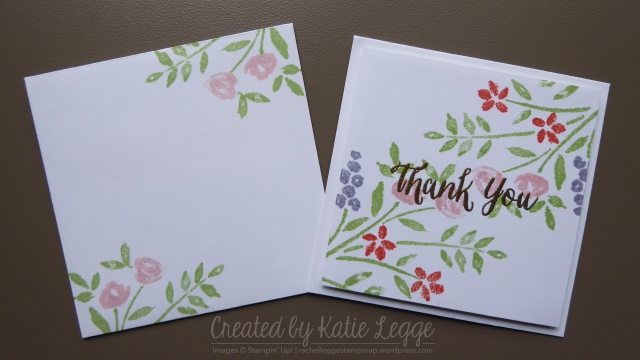 Stampin' Up! simple 'Thank' You' mini 3x3%22 card using the new Number of Year stamp set | Double stamped card with matching envelope | Created by Katie Legge rachelleggestampinup.wordpress.com