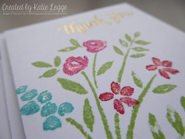 Stampin' Up! simple 'Thank You' mini 3x3%22 card using the new Number of Years stamp set | Closeup showing shimmery glitter from clear Wink of Stella | Created by Katie Legge rachelleggestampinup.wordpress.com