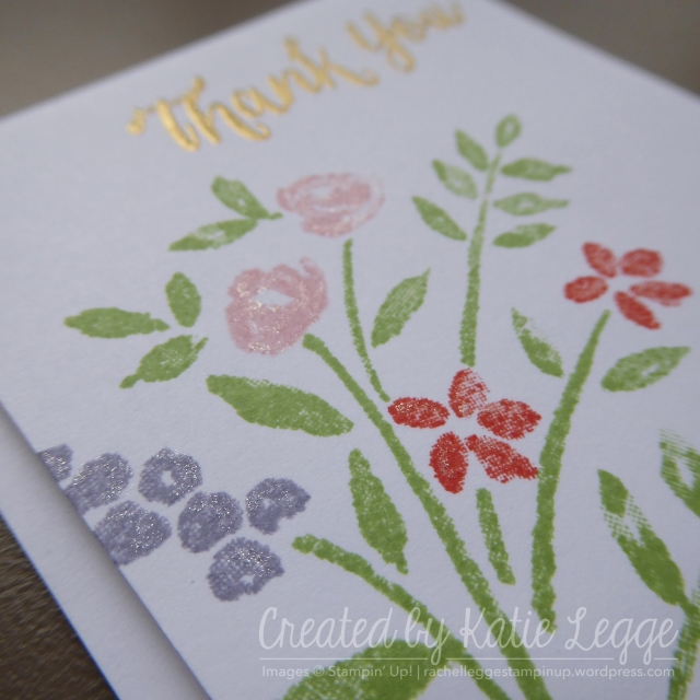 Stampin' Up! simple 'Thank You' mini 3x3%22 card using the new Number of Years stamp set | Closeup up shoeing gold embossing and clear Wink of Stella | Created by Katie Legge rachelleggestampinup.wordpress.com